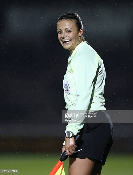 Referee Assistant Lisa Rashid looks on during the EFL Checkatrade Trophy match between Northampton Town and West Ham United at Sixfields Stadium on...