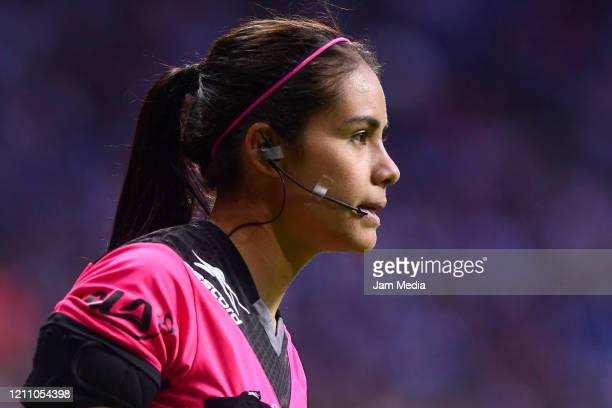 Referee assistant Mayra Alejandra Mora Cerero observes the game during the 9th round match between Monterrey and Atletico San Luis as part of the...