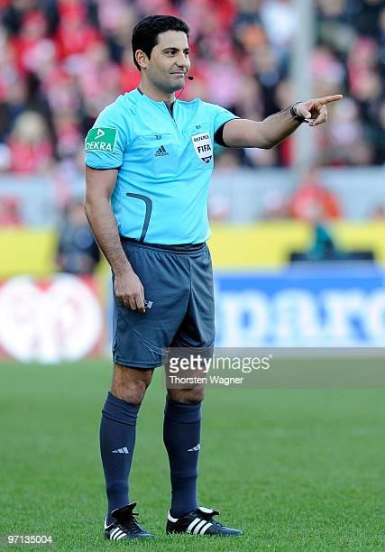 Referee Babak Rafati gestures during the Bundesliga match between FSV Mainz 05 and SV Werder Bremen at Bruchweg Stadium on February 27 2010 in Mainz...