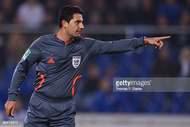 Referee Babak Rafati reacts during the Bundesliga match between Arminia Bielefeld and Energie Cottbus at the Schueco Arena on October 28 2008 in...