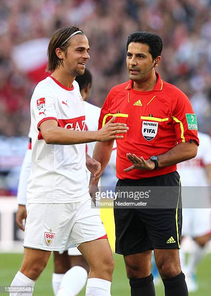 Referee Babak Rafati reacts during the Bundesliga match between VfB Stuttgart and TSG 1899 Hoffenheim at MercedesBenz Arena on October 15 2011 in...