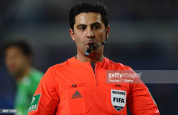 Referee Babak Rafati whistles during the Second Bundesliga match between Arminia Bielefeld and MSV Duisburg at the Schueco Arena on February 19 2010...