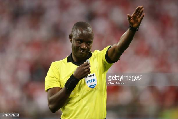 Referee Bakary Gassama in action during the 2018 FIFA World Cup Russia group C match between Peru and Denmark at Mordovia Arena on June 16 2018 in...