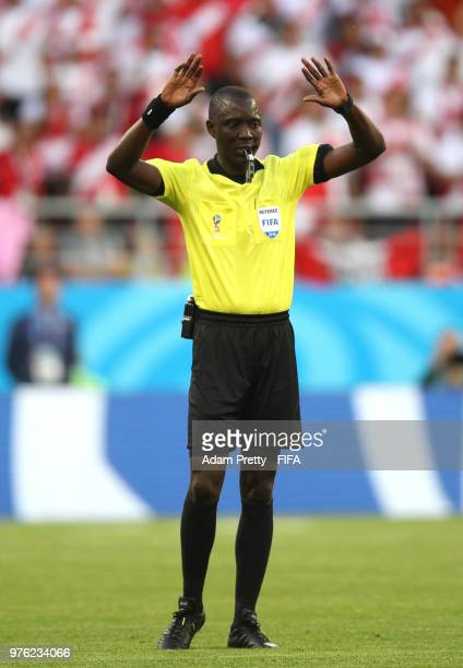 Referee Bakary Gassama refers to VAR technology during the 2018 FIFA World Cup Russia group C match between Peru and Denmark at Mordovia Arena on...