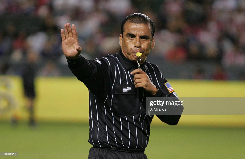 Referee Baldomero Toledo blows the final whistle to give Chivas USA the regular season Western Conference title following a scoreless draw with Dynamo at The Home Depot Center October 20, 2007 in Carson, California.