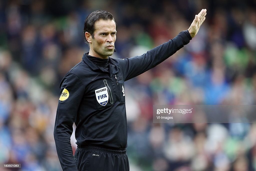 referee Bas Nijhuis during the Dutch Eredivisie match between FC Groningen and AZ Alkmaar at De Euroborg on Oktober 6, 2013 in Groningen, The Netherlands
