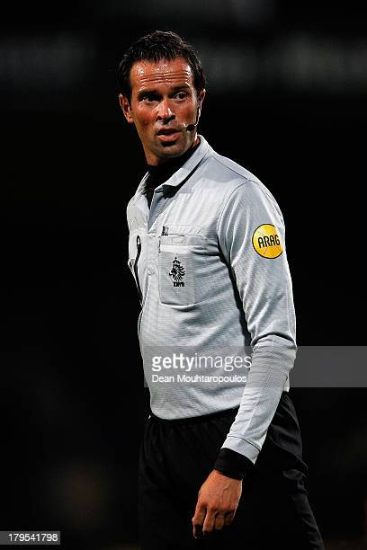 Referee Bas Nijhuis looks on during the Eredivisie match between RKC Waalwijk and Go Ahead Eagles at the Mandemakers Stadion on August 31 2013 in...