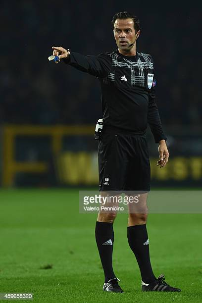 Referee Bas Nijhuis of Netherlands signals a foul during the UEFA Europa League group B match between Torino FC and Club Brugge KV on November 27...