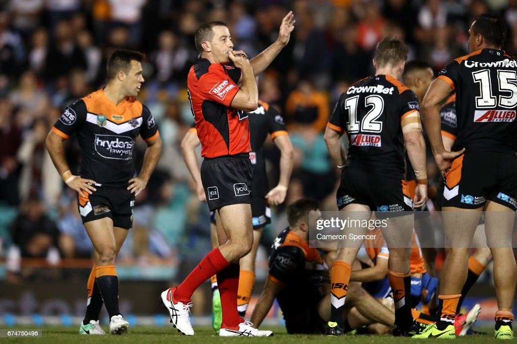 Referee Ben Cummins blows his whistle during the round nine NRL match between the Wests Tigers and the Cronulla Sharks at Leichhardt Oval on April 29, 2017 in Sydney, Australia.