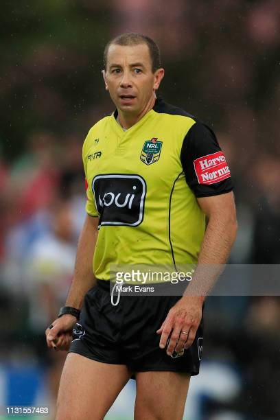 Referee Ben Cummins looks on during the NRL trial match between the South Sydney Rabbitohs and the Penrith Panthers at Redfern Oval on February 23...