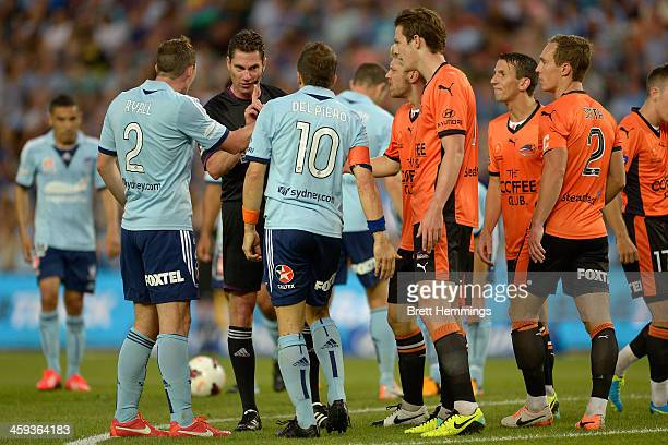 Referee Ben Williams speaks to Alessandro Del Piero of Sydney after a penalty during the round 12 ALeague match between Sydney FC and Brisbane Roar...