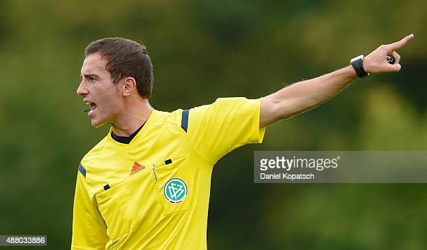Referee Benjamin Brand reacts during the third league match between VfR Aalen and Holstein Kiel at ScholzArena on September 13 2015 in Aalen Germany