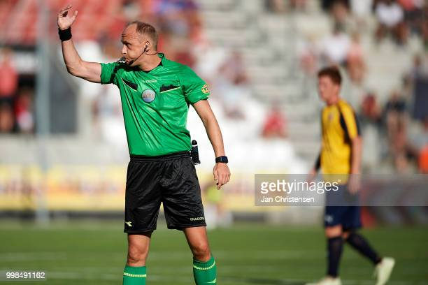 Referee Benjamin WillaumeJantzen in action during the Danish Superliga match between Vejle Boldklub and Hobro IK at Vejle Stadion on July 13 2018 in...