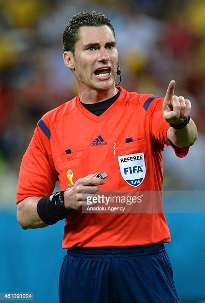 Referee Benjamin Williams in action during the 2014 FIFA World Cup group H soccer match between South Korea and Belgium in Sao Paulo Brazil on June...