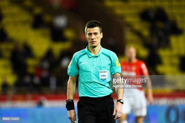 Referee Benoit Bastien during the Ligue 1 match between AS Monaco and Stade Rennais at Stade Louis II on December 20 2017 in Monaco