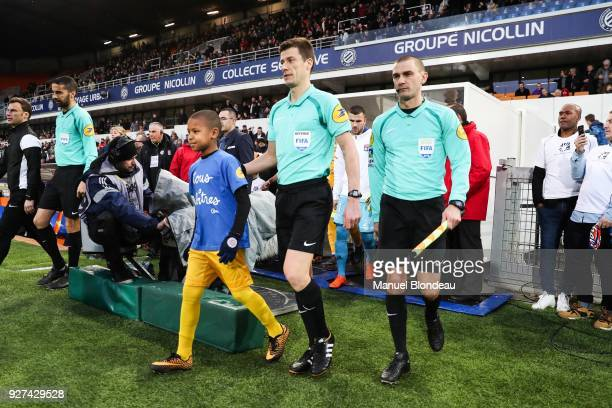 Referee Benoit Bastien during the Ligue 1 match between Montpellier Herault SC and Olympique Lyonnais at Stade de la Mosson on March 4 2018 in...
