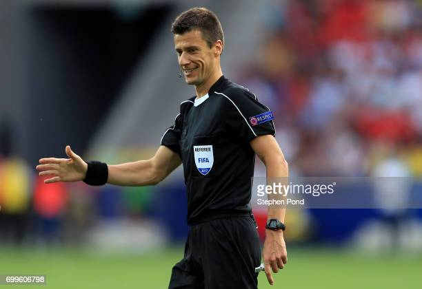 Referee Benoit Bastien during the UEFA European Under21 Championship Group C match between Czech Republic and Italy at Tychy Stadium on June 21 2017...