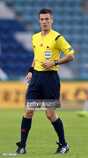 Referee Benoit Bastien during the Under 21 Qualifier between Germany U21 and U21 Romania at MDCCArena on September 09 2014 in Magdeburg Germany