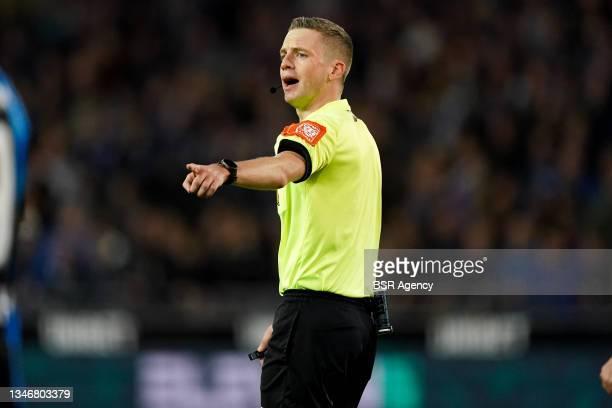 Referee Bert Put during the Jupiler Pro League match between Club Brugge and KV Kortrijk at Jan Breydelstadion on October 15, 2021 in Brugge, Belgium.
