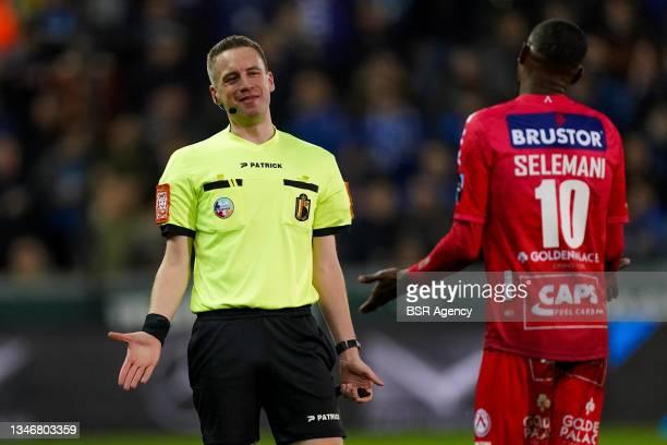 Referee Bert Put, Faiz Selemani of KV Kortrijk during the Jupiler Pro League match between Club Brugge and KV Kortrijk at Jan Breydelstadion on...