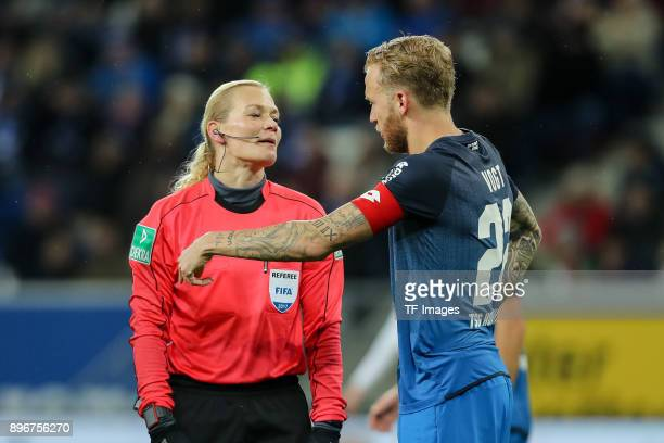 Referee Bibiana Steinaus speaks with Kevin Vogt of Hoffenheim during the Bundesliga match between TSG 1899 Hoffenheim and VfB Stuttgart at Wirsol...