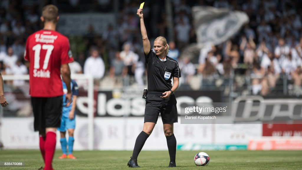 Referee Bibiana Steinhaus during the 3. Liga match between SG Sonnenhof Grossaspach and VfR Aalen at on August 19, 2017 in Grossaspach, Germany.
