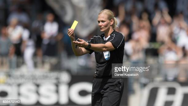 Referee Bibiana Steinhaus during the 3 Liga match between SG Sonnenhof Grossaspach and VfR Aalen at on August 19 2017 in Grossaspach Germany