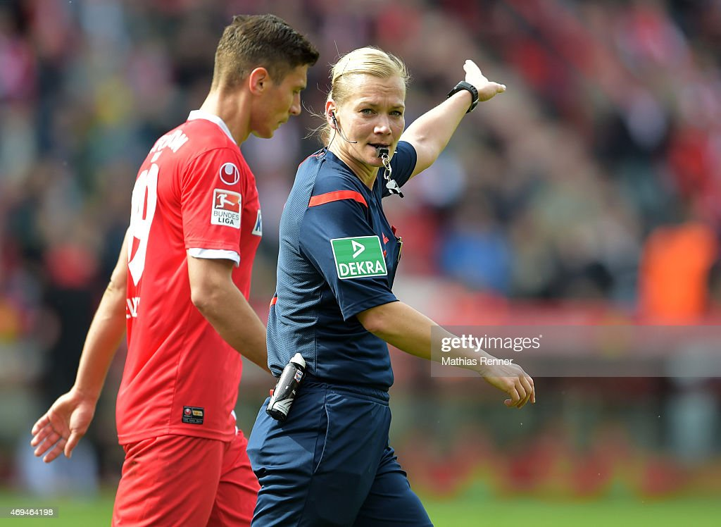 referee Bibiana Steinhaus during the game between Union Berlin and VfR Aalen on april 12, 2015 in Berlin, Germany.