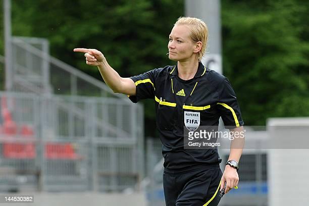 Referee Bibiana Steinhaus during the Third League match between SV Sandhausen and 1 FC Heidenheim at Hardtwald Stadium on May 5 2012 in Sandhausen...
