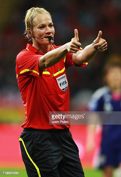 Referee Bibiana Steinhaus gestured during the FIFA Women's World Cup Final match between Japan and USA at the FIFA World Cup stadium Frankfurt on...