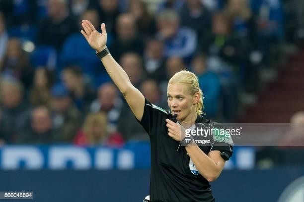 Referee Bibiana Steinhaus gestures during the Bundesliga match between FC Schalke 04 and 1 FSV Mainz 05 at VeltinsArena on October 20 2017 in...