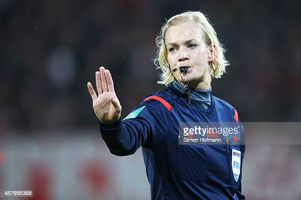 Referee Bibiana Steinhaus gestures during the DFB Cup match between Kickers Offenbach and Karlsruher SC at SpardaBankHessenStadion on October 28 2014...