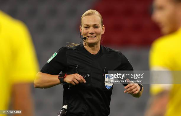 Referee Bibiana Steinhaus gestures during the Supercup 2020 match between FC Bayern Muenchen and Borussia Dortmund at Allianz Arena on September 30...