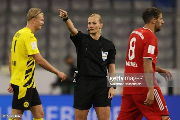 Referee Bibiana Steinhaus gestures during the Supercup 2020 match between FC Bayern Muenchen and Borussia Dortmund at Allianz Arena on September 30,...