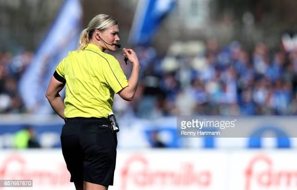 Referee Bibiana Steinhaus gestures during the Third League match between Holstein Kiel and 1 FC Magdeburg at HolsteinStadion on March 25 2017 in Kiel...