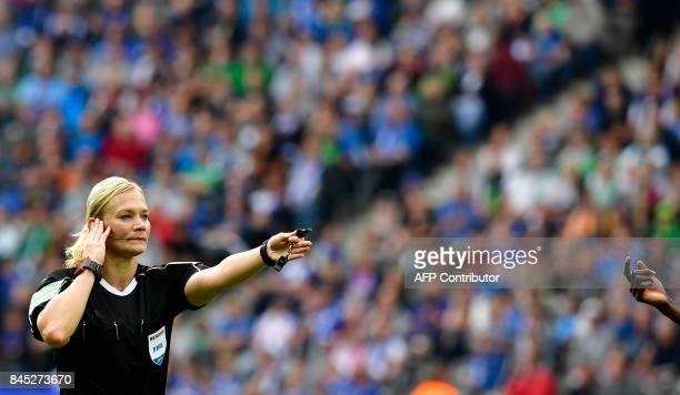 TOPSHOT Referee Bibiana Steinhaus is pictured during German first division Bundesliga football match between Hertha Berlin and Werder Bremen on...