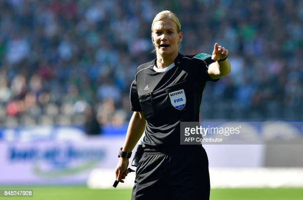 Referee Bibiana Steinhaus is pictured during the German first division Bundesliga football match between Hertha Berlin and Werder Bremen on September...
