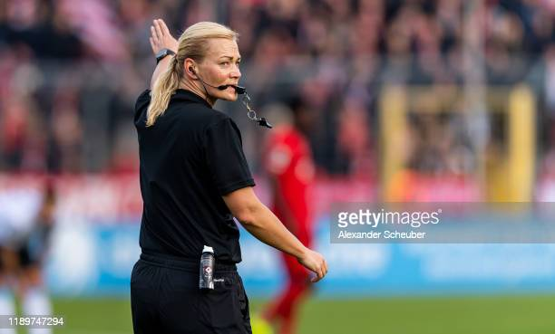 Referee Bibiana Steinhaus is seen during the 3 Liga match between TSV 1860 Muenchen and Bayern Muenchen II at Stadion an der Gruenwalder Straße on...