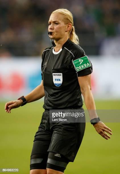 Referee Bibiana Steinhaus is seen during the Bundesliga match between FC Schalke 04 and 1 FSV Mainz 05 at VeltinsArena on October 20 2017 in...