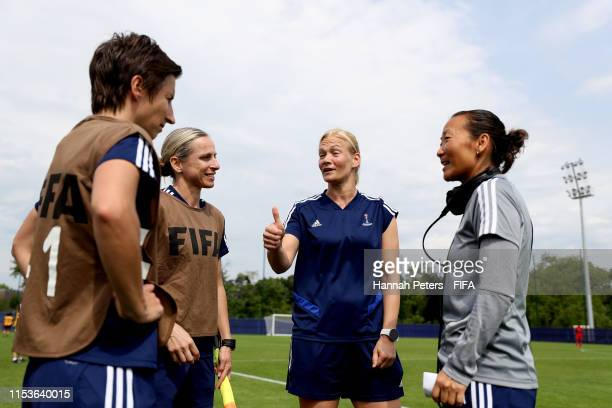 Referee Bibiana Steinhaus listens to feedback during a FIFA referees training session ahead of the Women's World Cup France 2019 on June 04 2019 in...