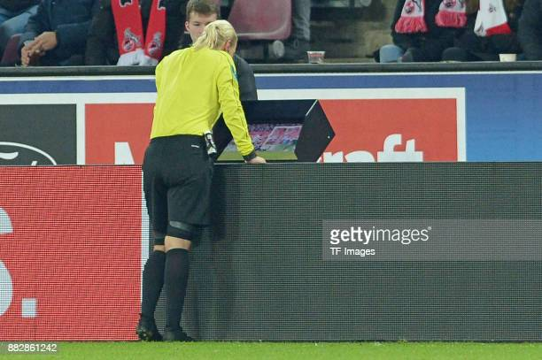 Referee Bibiana Steinhaus looks on during the Bundesliga match between 1 FC Koeln and Hertha BSC at RheinEnergieStadion on November 26 2017 in...