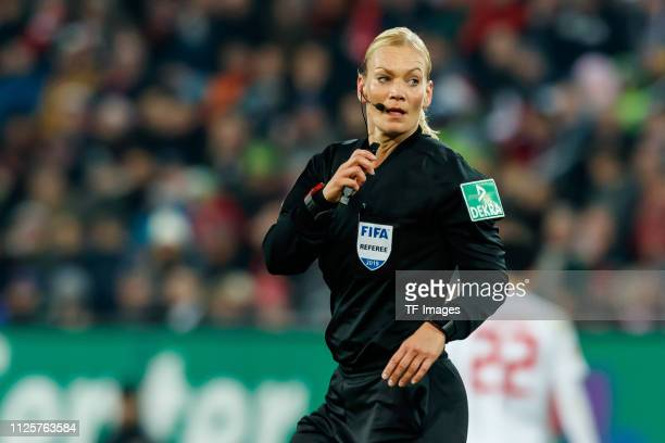 Referee Bibiana Steinhaus looks on during the Bundesliga match between FC Augsburg and FC Bayern Muenchen at WWKArena on February 15 2019 in Augsburg...