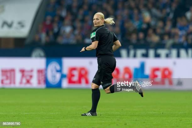 Referee Bibiana Steinhaus looks on during the Bundesliga match between FC Schalke 04 and 1 FSV Mainz 05 at VeltinsArena on October 20 2017 in...