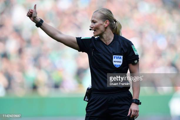 Referee Bibiana Steinhaus looks on during the Bundesliga match between SV Werder Bremen and SportClub Freiburg at Weserstadion on April 13 2019 in...