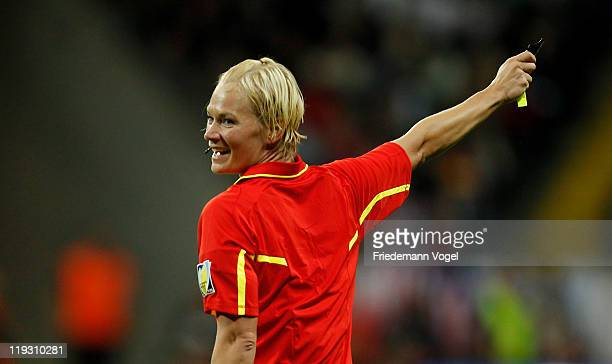 Referee Bibiana Steinhaus of Germany gives advise during the FIFA Women's World Cup Final match between Japan and USA at the FIFA World Cup stadium...