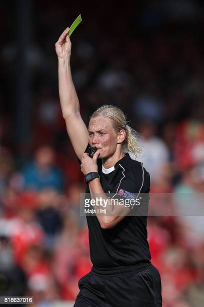Referee Bibiana Steinhaus of Germany reacts during the Group C match between Austria and Switzerland during the UEFA Women's Euro 2017 at Stadion De...