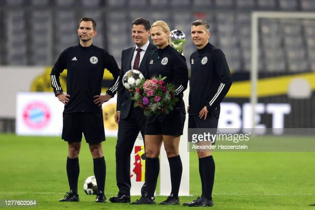 Referee Bibiana Steinhaus poses for a photo with her match assistants and Christian Seifert CEO of DFL prior to the Supercup 2020 match between FC...