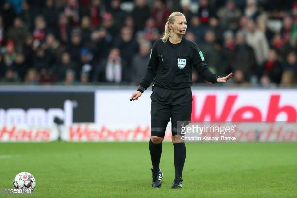 Referee Bibiana Steinhaus reacts during the Bundesliga match between SportClub Freiburg and TSG 1899 Hoffenheim at SchwarzwaldStadion on January 26...