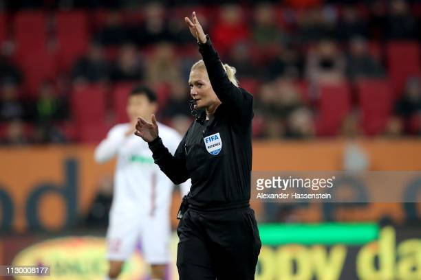 Referee Bibiana Steinhaus reacts during the Bundesliga match between FC Augsburg and FC Bayern Muenchen at WWKArena on February 15 2019 in Augsburg...