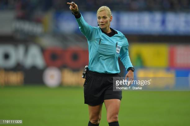Referee Bibiana Steinhaus reacts during the Bundesliga match between SC Paderborn 07 and RB Leipzig at Benteler Arena on November 30, 2019 in...
